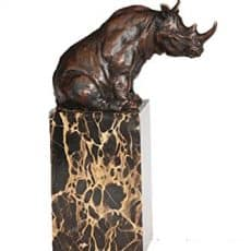 Toperkin Bronze Statues Animal Sculptures African Rhino Statue Marble Base Collection