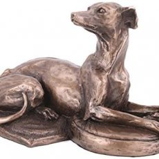 Harriet Glen de Whippet couché Chien Sculpture en bronze coulé à froid Home Decor ou idée cadeau H8.5 cm