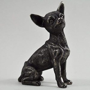 Chihuahua Small Cold Cast Bronze Statue Sculpture Pets Gift Idea H9.5m